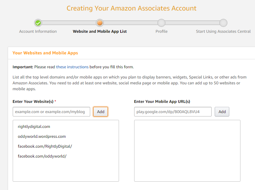Amazon Website and Mobile App List