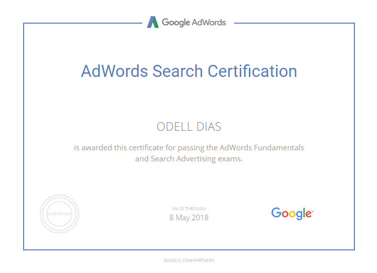 Google Adwords Certification_Odell Dias