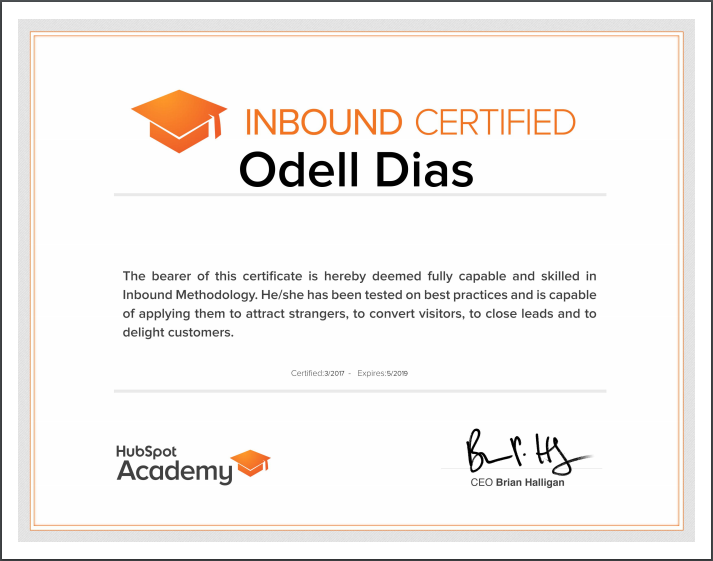 Online Marketing Certificate_Odell Dias