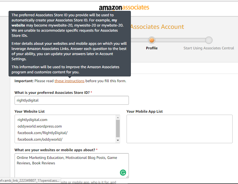Amazon Affiliate Profile Section