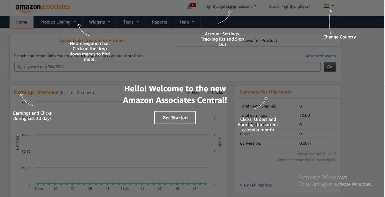 Amazon Affiliate Dashboard