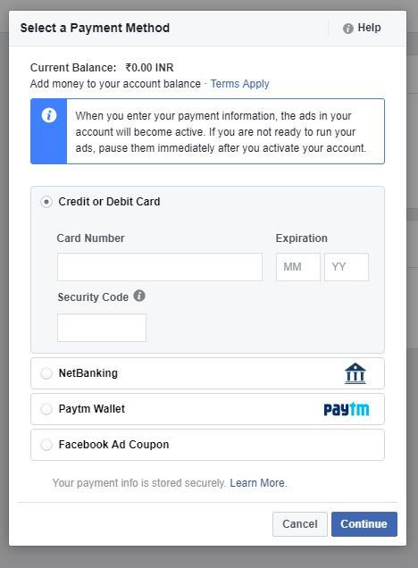 FB ADS Paytm Wallet Option
